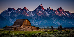 John Moulton Barn (mikedemmingsphoto.com) Tags: mountains barn sunrise row mormon wyoming tetons grandtetonnationalpark mormonbarn