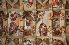 Rome, Vatican Museums, Sistine Chapel, Michelangelo's work (blauepics) Tags: italien italy italia rom rome roma city stadt historical historisch vatikanische museen museums painting gemälde religious religiös old alt art kunst ceiling decke colours farben sistine chapel sixtinische kapelle michelangelo