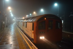 Foggy early morning run on the Central Line Rail Adhesion Train (Drew Diddles) Tags: central line underground tube fog epping 1962 62ts sandite rat