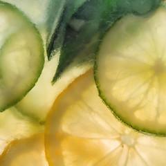 Citrus Delight (Anne Worner) Tags: em5 itsapeelingtome macromondays citrus closeup diffuse green lemon lime macro olympus peel pith soft sour square yellow rind anneworner colorefex4