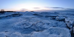sun going down (Mika Lehtinen) Tags: ice icecold blue frost lowlight fisheye 8mm iceneedles icicles sea winter night finland