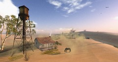 Devin- Sandstorm (AtlanBade) Tags: outdoor desert afrika sandstorm horse watermill virtual secondlife devin2