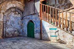 The Coptic Seat at the Dar es Sultan Monestary (Trouvaille Blue) Tags: middleeast israel jerusalem churchoftheholysepluchre ethiopian monks daressultan trouvailleblue monestary coptic