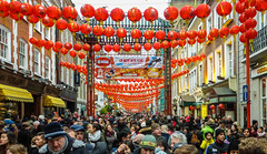 Chinese New Year. (Suggsy69) Tags: panasonic lumix tz35 panasoniclumixtz35 chinesenewyear chinatown soho london yearoftherooster 2017 happynewyear crowd people lanterns chineselanterns busy bustling street