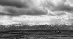 in the realm of Icelandic horses (lunaryuna) Tags: iceland southiceland skaftafell mountainrange landscape panorama panoramicviews mountains sky clouds cloudscape weather weathermood icelandichorses vastness solitude spring season seasonalchange snowcappedmountains lunaryuna blackwhite bw monochrome