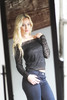 Mirror, Mirror (Robert_Brown [bracketed]) Tags: photo photograph blond blonde beautiful greeneyes blondhair indoor naturallight blacktop lacytop jeans mirror relfection vintagemirror lookinginmirror woman female