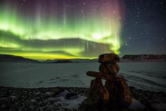 Focus (Clare Kines Photography) Tags: arctic aurora nunavut inuksuk marcillake arcticbay northernlights inukshuk scenic auroraborealis night canada stars timelapse north orion