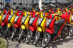 Motor Scooters 001 (DMT@YLOR) Tags: motor motorscotter hire sufersparadise goldcoast queensland australia red yellow colour colourful bright