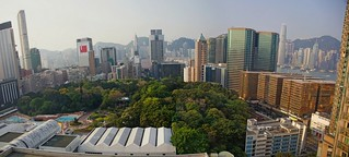 Hong Kong, view to Kowloon Park from the hotel room