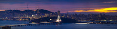 Definitive San Francisco, Temporarily (Decaseconds) Tags: sunset city urban sanfrancisco bay bridge yerbabuena treasureisland coit tower transamerica sutro reflection bluehour clouds landscape panorama
