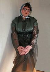Black Plastic Mac (Miss Pakamac) Tags: rainbonnet plasticraincoat plasticrainwear plasticmac pakamac