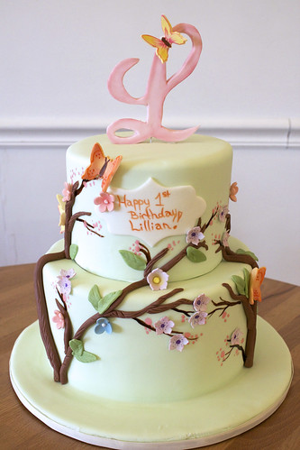 Spring flowers monogram cake