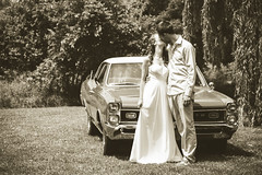 Kissing... again (trouble4dan) Tags: wedding love car sepia groom bride kiss couple antique young romance gto 2015 weddingcouple danhamill