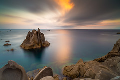 The sea, into a dream... (simone_coltri) Tags: sardegna longexposure sea sun seascape rock clouds sunrise landscape sardinia capotesta santateresadigallura nd1000