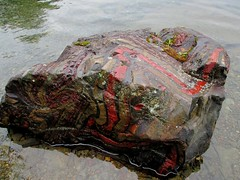 Bacon rock (briandjan607) Tags: red lake nature water strange rock stone dorothy bacon interesting knife canoe pines layers ribbon folded curious unusual shallow rippled geology wilderness bent canoeing isle striped boundarywaters bwca bwcaw isleofpines molter rootbeerlady baconrock