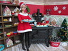 Head Baker at the North Pole Bakery (Foxy Belle) Tags: christmas kitchen food diorama holiday 16 scale doll barbie miniature dollhouse red white green old fashioned vintage retro fashion queen fq hat santa dress boots squishy black