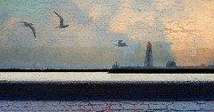 Noord-Hollands landschap (Ger Veuger) Tags: landschap landscape abstract abstractlandschap abstractlandscape noordholland noordhollandslandschap dutchlandscape collage abstractedigitalecollage abstractdigitalcollage vuurtoren lighthouse vuurtoreneiland markermeer ijmeer