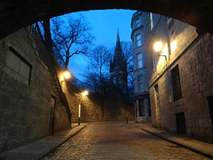 Blue Night (Ian Robin Jackson) Tags: night aberdeen dark scotland arch spire cathedral street wall blue window tunnel trees wintertrees steps