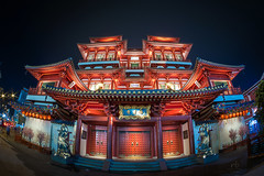 The Buddha Tooth Relic Temple... (itsrbtime) Tags: temple architecture night nightshot light patterns wideangle wide ultrawide fisheye olympus olympusomd omd olympusem5ii em5 em5ii samyang samyang75mm samyang75mmf35 samyang75mmfisheye