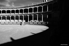 Plaza de Toros: Oldest bull fighting ring (greg luengen) Tags: bullfighting bullfight ring arena plaza ronda spain spanien blackandwhite blackwhite schwarzweiss tourist holidays sony sonyalpha nex