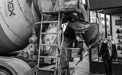 2017_20 (Chilanga Cement) Tags: fuji fujix100t x100t xseries x100s x100 monochrome bw blackandwhite cement concrete mixer concretemixer ladder man machine revolver window preston street streetphotography pour