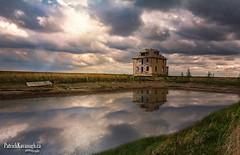 Prairie Reflections (Pat Kavanagh) Tags: saskatchewan prairies prairie homestead farmhouse dugout pond canada panorama landscape hdr highdynamicrange