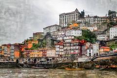 Berge du Douro à Porto 2 (Xtian du Gard) Tags: painting porto portugal art douro houses water eau landscape bateaux boats waterscape digiart xtiandugard