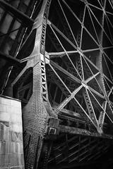 Chicago Bridge Lift - 2015 (SauceyJack) Tags: bridge blackandwhite bw chicago water monochrome up metal river blackwhite illinois iron lift overcast monochromatic il chicagoriver upright 2015 wscf nikond810 sauceyjack nikkor2470ed chicagobridgelift