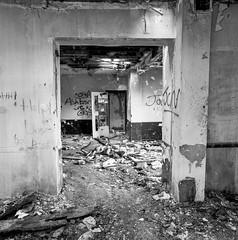 Llanerch, Bridgend (2) (Cariadus) Tags: blackandwhite bw abandoned 120 6x6 film analog fuji urbandecay hasselblad analogue bridgend acros urbex rollfilm selfdeveloped 503cx fotospeed fd10