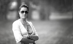 Missus (Wojtek Piatek) Tags: park portrait blackandwhite woman sun girl mono glasses blackwhite pretty outdoor shades matte zeiss135 sonya99