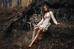 Alena (ivankopchenov) Tags: girl pine forest dress outdoor roots