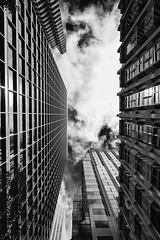 Don't Look Down (eCHstigma) Tags: sf sanfrancisco california city sky urban blackandwhite monochrome architecture clouds buildings nikon downtown bayarea d750 sfbayarea soma bnw 24120mmf4
