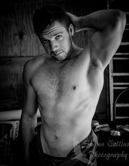 Fitness Model Mike (Shawn Collins Photography) Tags: shirtless portrait blackandwhite hairy male smile nova beard model photoshoot modeling masculine garage engine chesthair tools dirty grease overalls fitness gym mechanic photosession built malemodel scruff noshirt hairychest portraitphotography dirtyjobs fitnessmodel