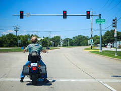 All revved up and no place to go  - Day 202/July 21 (Grieving Wilson) Tags: blue red summer bike cool waiting ride riding motorcycle stoplight rider