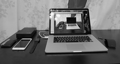 The Geeks Office 7-22-2015 (soulreaver99) Tags: apple mouse desk arc microsoft workspace seagate iphone tumi applewatch macbook proretina