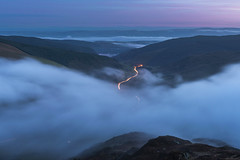 'Corris Twilight' - Cader Idris, Snowdonia (Kristofer Williams) Tags: twilight night stars sky valley mountain longexposure le road traffictrails lighttrails bluehour landscape clouds cloudscape