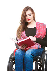 Young disabled woman in wheelchair with book. (IWillHaveHam) Tags: study disabled book wheelchair handicap student reading paralysis education chair accessibility disability knowledge pensive isolated white mobility invalid university handicapped impairment woman young college handbook girl learning relax sitting poland