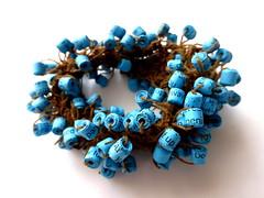 wristband (Ines Seidel) Tags: jewelry jewellery wristband beads blue blau perlen papierperlen paper text schmuck armband shamanic accessory