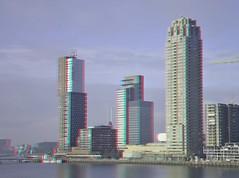 Kop van Zuid Rotterdam 3D (wim hoppenbrouwers) Tags: anaglyph stereo redcyan kopvanzuid rotterdam 3d boston neworleans montevideo hoogbouw bostonseattle buildings rijnhaven bostonbuilding wpc castor