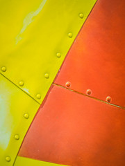 Stiches (ildikoannable) Tags: stiches panel metal sheet sheetmetal airplane aircaft colour vivid yellow red macro closeup