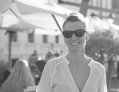 movie star (nicuivan83) Tags: portrait blackandwhite bw woman girl beautiful smile sunglasses canon 5d backlit mkii tamron2875