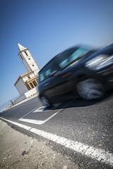 Iglasia de Las Salinas (Cabo de Gata) (Jose Mara Ruiz) Tags: espaa church speed spain iglesia andalucia coche andalusia velocidad almeria duelos