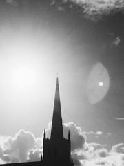church, cow and wind farm (lukaslittle) Tags: street trip blackandwhite sun church portland tour iphone