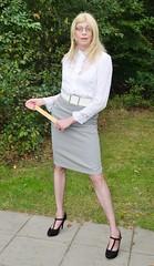 The teacher. (sabine57) Tags: stockings drag tv pumps highheels cd skirt crossdressing blouse tgirl transgender tranny transvestite crossdresser crossdress nylons travestie transvestism whiteblouse pencilskirt