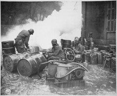 #Soldiers of the 161st Chemical Smoke Generating Company, U.S. Third Army, move a barrel of oil in preparation to refilling an M-2 smoke generator [3,000 × 2,459] Preparing for attack on Saar River near Wallerfangen, Germany #history #retro #vintage #dh # (Histolines) Tags: histolines history timeline retro vinatage soldiers 161st chemical smoke generating company us third army move barrel oil preparation refilling an m2 generator 3 000 × 2 459 preparing for attack saar river near wallerfangen germany vintage dh historyporn httpifttt2gn3ovk
