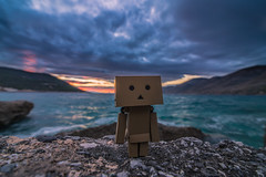 Danbo by the sea (Vagelis Pikoulas) Tags: danbo small canon toy 6d tokina 1628mm rock rocks winter december 2016 porto germeno greece sky dramatic clouds cloud cloudy sun sunset europe travel