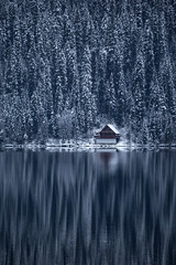 Bowron Cabin (robertdownie) Tags: autumn trees canada lake forest mountains winter water reflection cold house snow mountain woods ice bc hills cabin wilderness british columbia