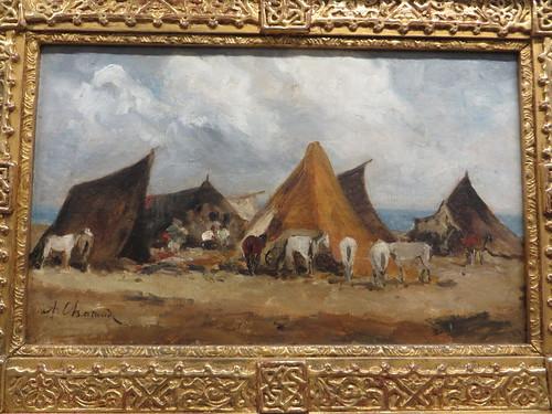 """""""Campement de bohémiens au champ de manœuvres près d'Alger"""", Alfred Chataud (1833-1908), Musée des beaux-Arts, Pau, Béarn, Pyrénées Atlantiques, Aquitaine, France."""