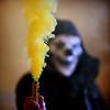 dark mask (Laurent Delfraissy Photographie) Tags: laurentdelfraissy mask themask formatcarré friches fumigène fumée yellow jaune clown studioacidezen studio dark party portrait art visualart visuel peur hallowen smock flickr explore