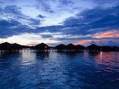 Floating Huts (IsaacTakesPhotos) Tags: sky floating ocean clouds blue huts borneo holiday sunset cloud sea paradise red dark night dawn perfect landscape world travel